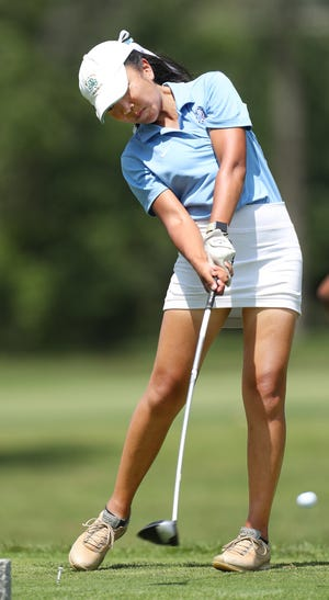 Hudson's Sherry Du hits a tee shot during the Lady Explorer Invitational girls golf tournament at Lake Forest Country Club on Monday, Aug. 10, 2021, in Hudson.