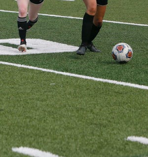 The Nordonia girls JV soccer team plays against Solon on the new turf on the field at Boliantz Stadium Monday, Aug. 9, 2021 in Macedonia, Ohio.