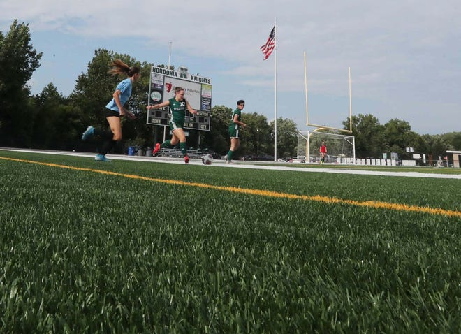 The Nordonia girls JV soccer team plays against Solon on the new turf at Boliantz Stadium. The Nordonia Hills school district is still accepting donations to cover the cost of the $415,000 turf.