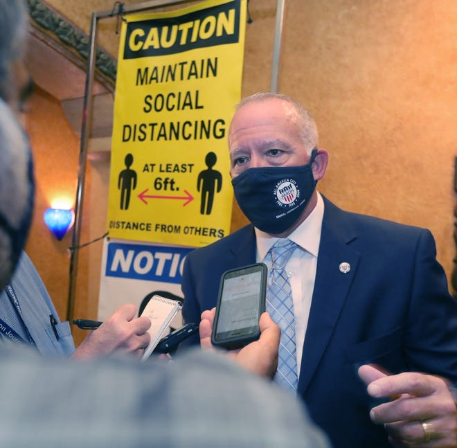 Akron Mayor Dan Horrigan answers questions from reporters after giving his 2021 State of the City address to a large gathering Aug. 9 at the Akron Civic Theatre. Horrigan said this week there are no immediate plans for another mask mandate in Akron, but he's open to the idea.
