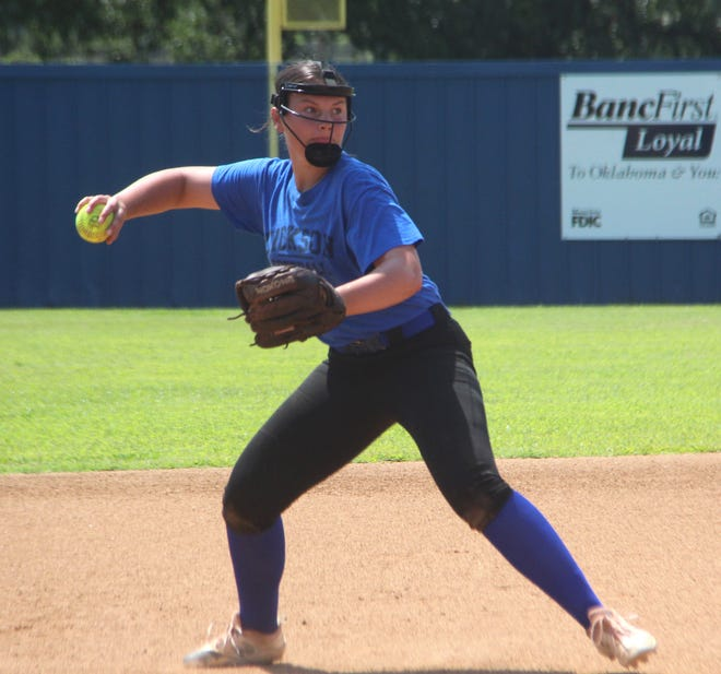 Dickson's Shelby Beard is shown earlier this month at practice. The junior struck out seven batters Monday as the Lady Comets beat Sulphur 4-3 at the LCC Tournament.