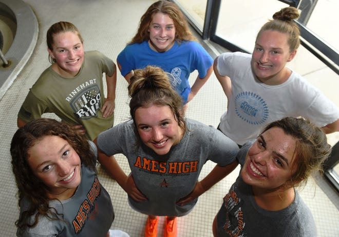State qualifiers (foreground Left to right) Meghan Donald, Abby Hala, Sophie McCorkle, (background left to right) Mikayla Kloth, Lauren Fisher and Jordan Kloth will lead the Ames girls' swimming and diving team in their attempt to repeat as state champions in 2021.