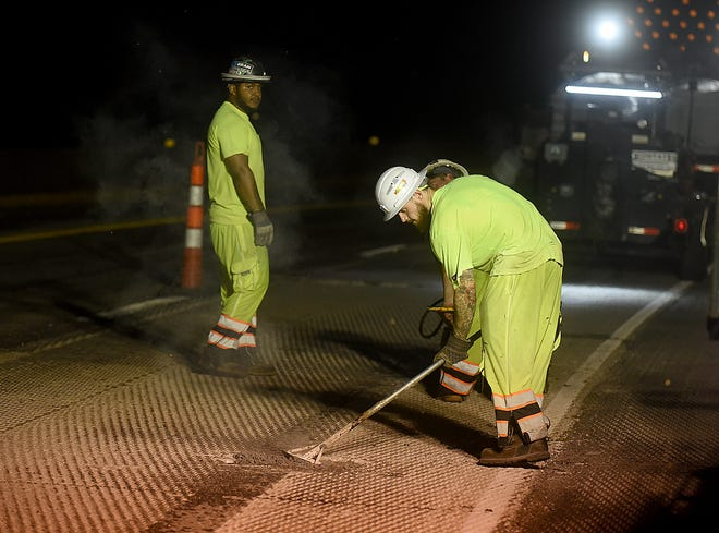 Parking Lot Maintenance, O'Fallon, employees fill potholes on Stadium Boulevard with fibrercrete, a hot applied flexible concrete repair material, on Monday in preparation for resurfacing the road with a recycled plastic-modified asphalt mixture.
