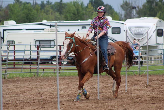 Monday at the Cheboygan County Fair saw many different events for people of all ages, including the open horse shows, where riders including Rebecca Kauffman on her horse Myles were able to show off their skills in different competitions.