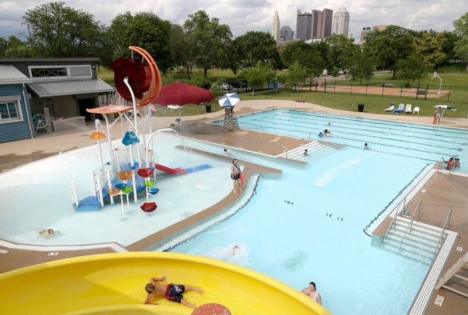 The city of Columbus plans to spend $13 million to overhaul the Glenwood Community Center pool in the Hilltop and the Windsor pool in Linden in fall 2022 as the start of upgrade work at all eight of its eight outdoor pools in the years ahead. Shown here are swimmers enjoying the Dodge Park pool in Franklinton earlier this summer.