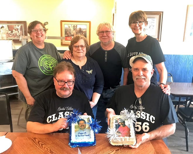 Jerry Nelson and his wife, Julie, recently made a guest appearance for Mark Vandelanotte's 65th birthday party. Back row: Rae Yost, Julie and Jerry Nelson, Jane Vandelanotte. Seated are Dana Yost and Mark Vandelanotte.