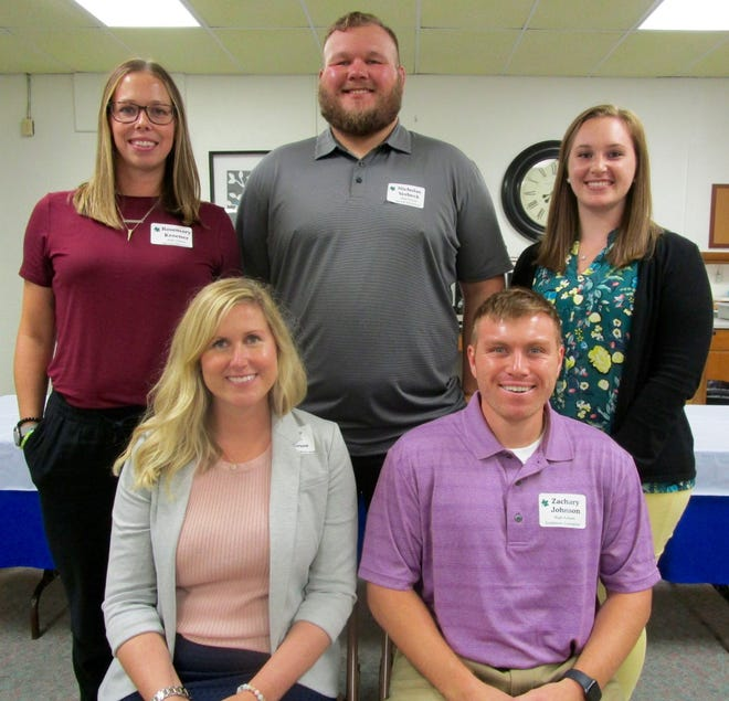 New staff at Geneseo High School are, in front from left, Brooke Emmerson and Zachary Johnson; and in back, Rosemary Kroner, Nicholas Verbeck and Megan Davidson.