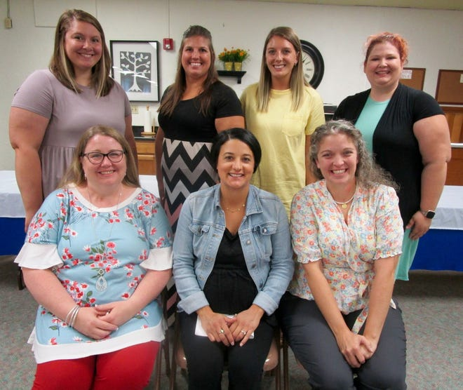 New staff at the elementary level in the Geneseo School District are, in front from left, Melissa Bates, Megan Peal, Elizabeth George; and in back, Paige Panicucci, Sarah Bullock Dana Storm and Cassandra Smith.