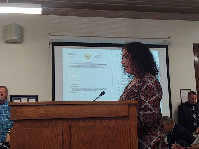 Sarah Myrick speaks before Grayson County Commissioners in support of a historic marker that would recognize the Sherman riots of 1930 and lynching of George Hughes.
