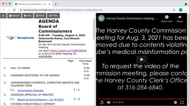 """Video of the Aug. 3 Harvey County Commission Meeting was deleted by YouTube, which stated the meeting violated the company's """"medical misinformation policy."""""""