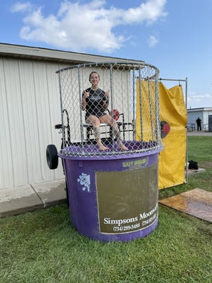 Corrections Officer Alexis Lewis was among 16 persons who volunteered to be in a dunking booth used as a fundraiser at the Monroe County Fair last week to benefit either Monroe County Animal Control or the Monroe County Substance Abuse Coalition.