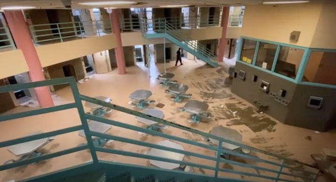 The inside of a jail pod is shown in this screen grab from a video about progress made at the Oklahoma County jail since a trust took over on July 1, 2020.