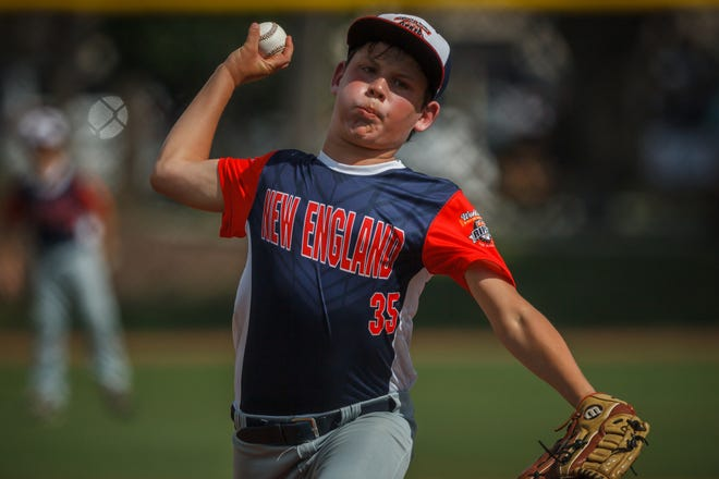 Dover's Ben Cheek delivers a pitch during morning action of the Cal Ripken U10 World Series tournament play at Gardens Park in Palm Beach Gardens, Fla. on Tuesday. Dover scored three runs in the sixth inning and beat Honolulu, 8-7.