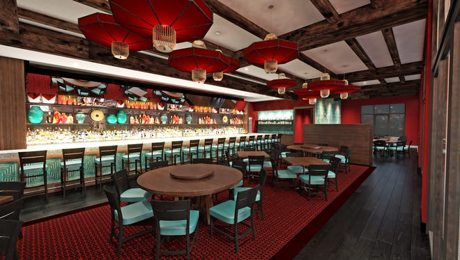 An artist's rendering of the bar and dining area at Pagoda Kitchen, a Chinese-inspired restaurant expected to open in suburban Delray Beach this year.