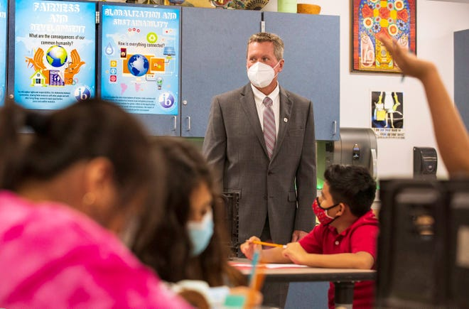 School District Superintendent Mike Burke observes a 6th grade social studies class at Conniston Middle School in West Palm Beach Tuesday, Aug. 10, 2021, the first day of the school year.