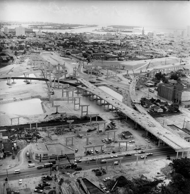 This photo provides a bird's eye view of I-395 looking east in Miami in August of 1967. (John Pineda / Miami Herald.)