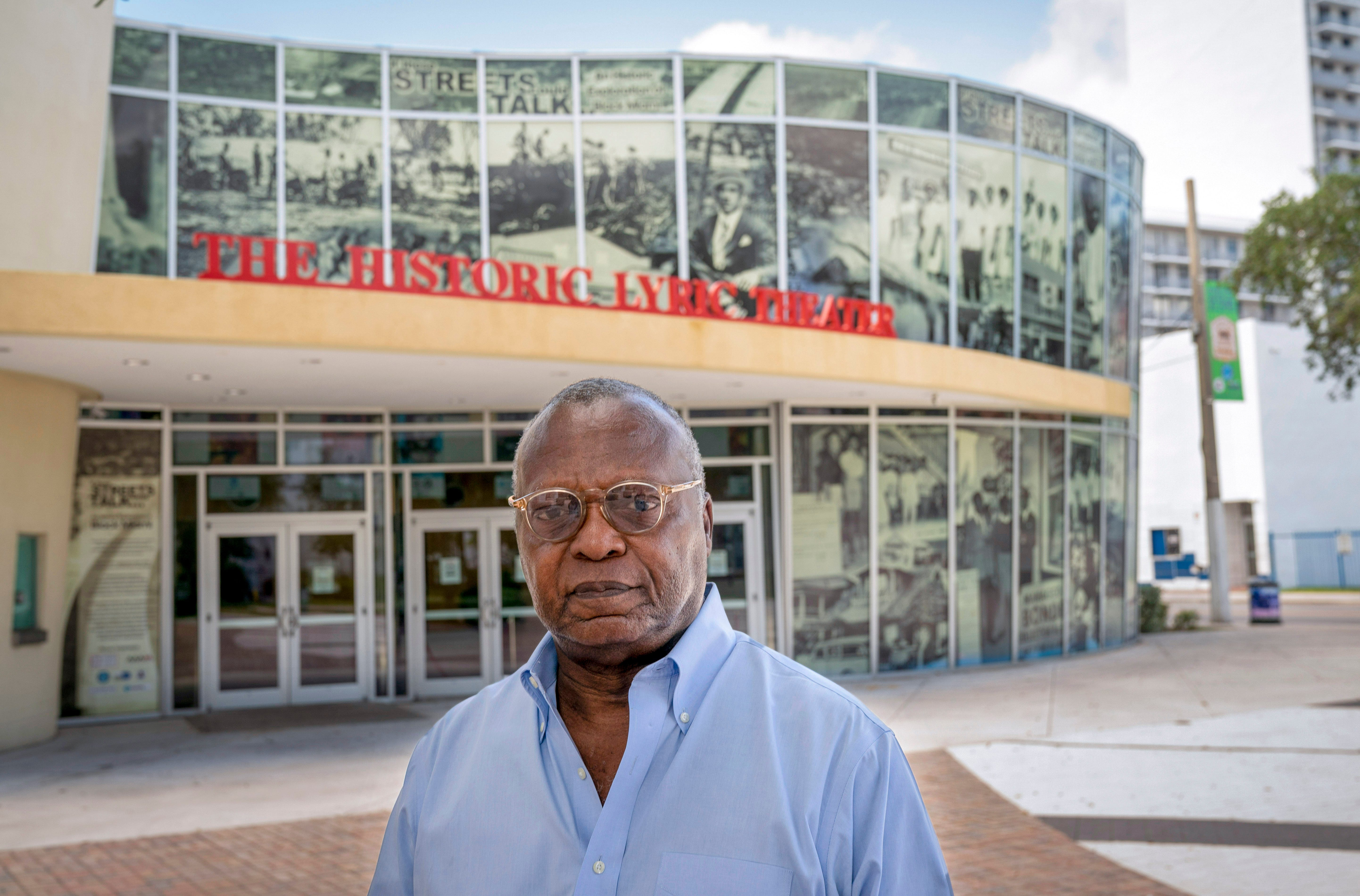 Milton Vickers in front of the Black Archives - Historic Lyric Theater was restored to what it was in the 1940s and 1950s in the Overtown neighborhood in Miami, Florida on August 6, 2021.