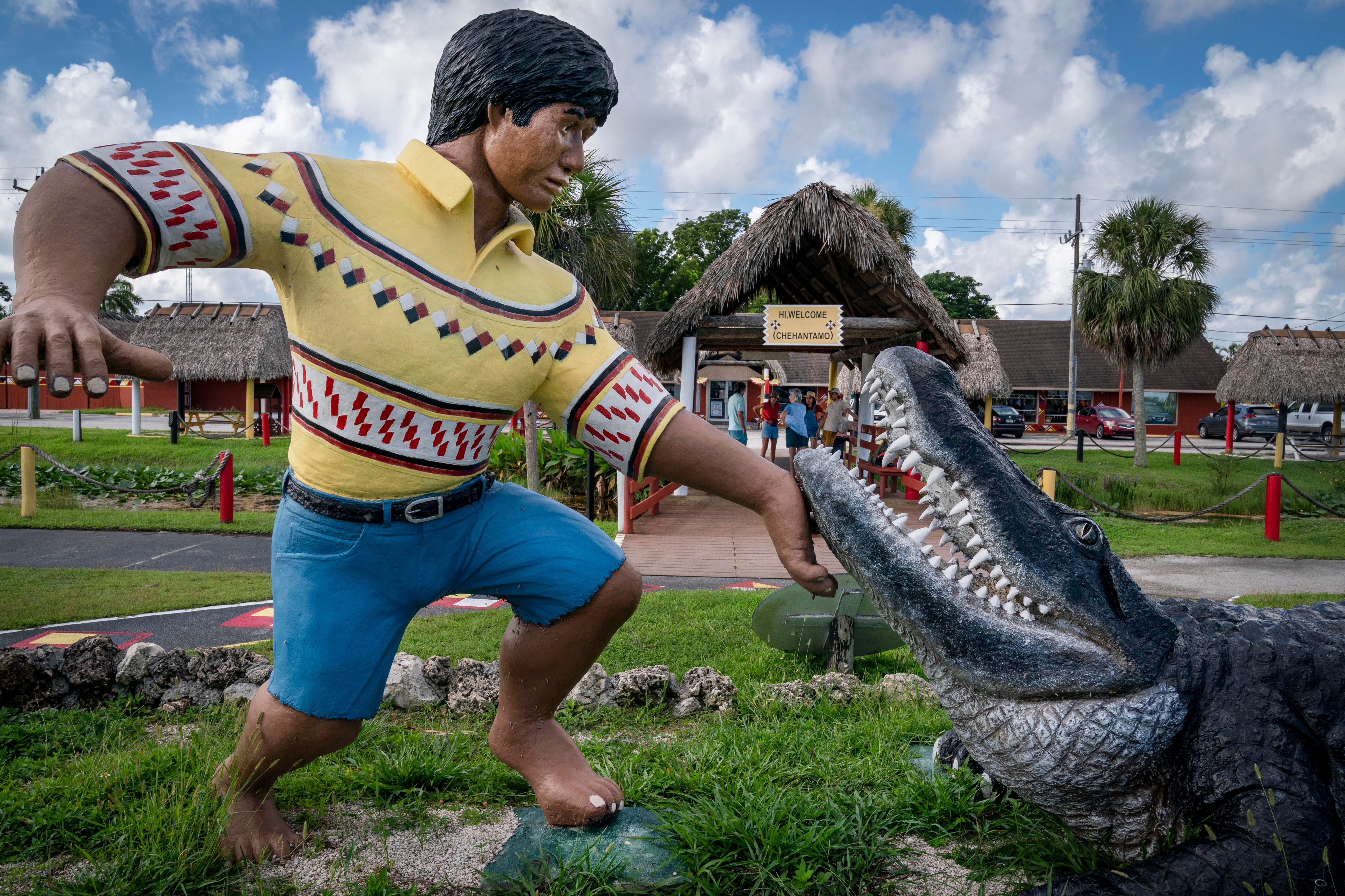 The Miccosukee Indian Village is on Tamiami Trail west of Miami. The tourist attraction showcases Miccosukee tribal arts and culture with a museum, gift shop, airboat rides and alligator wrestling.