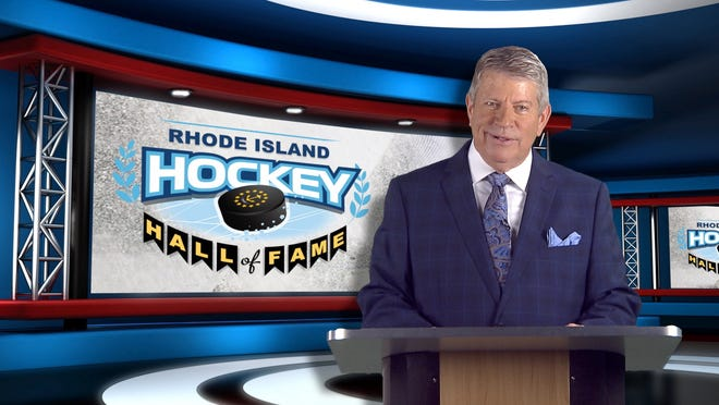 Dale Arnold hosting the Rhode Island Hockey Hall of Fame show.