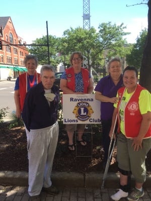 The Ravenna Lions Club is collecting soft plastic on the first Saturday of each month at First United Methodist Church of Ravenna. From left are Larry Hurley, Beverly Collin, Denise Schaer, Debbie Sunderland and Jill Reitz.