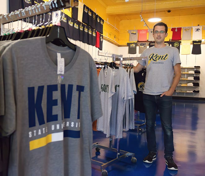 Justin Heiser co-owns and manages Kent Sportswear, a new Kent State University apparel shop at the corner of South Water Street and Burbick Way. The business opened around July 23, in time for the Wizardly World of Kent, which helped the business get of to a quick start.