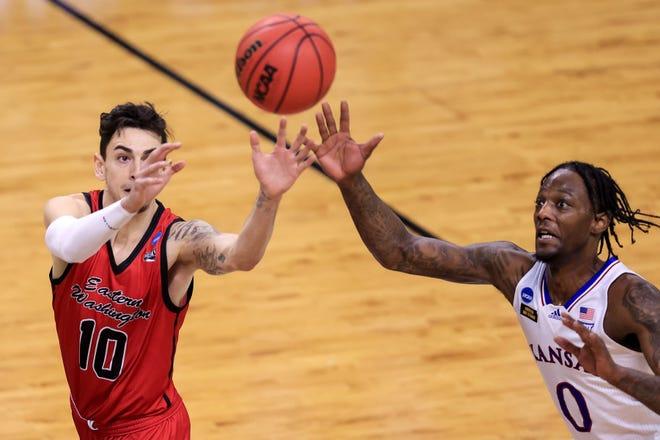 Former Kansas guard Marcus Garrett, right, has impressed Miami Heat teammates with his defense so far in the NBA summer league.