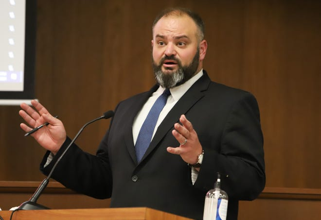 Joshua Reynolds, the newly hired director of South Bend's community police review office who could soon lose the job, addresses the Common Council at a recent meeting.