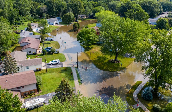 An aerial view of flooding along Vista Drive in Bridgman on Tuesday, Aug. 10, 2021.