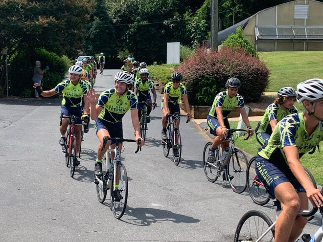A group of adventurous and dedicated cyclists made a stop at Holy Angels during their 59-day-long, 3,663 mile journey.