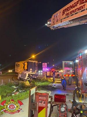 A truck overturned on northbound Interstate 55 near milepost 91 Monday evening.