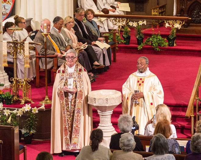 Bishop Rob Skirving, left, with Bishop Michael Curry at Christ Church in 2017 during 200th anniversary celebration of the forming of The Diocese of North Carolina.