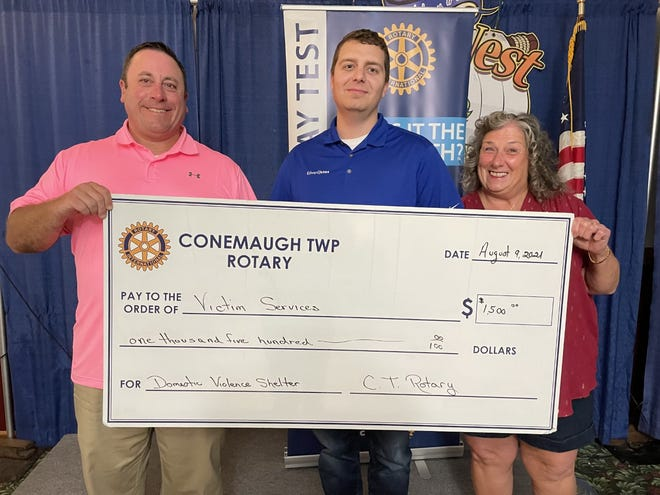 The Conemaugh Township Rotary donated $1,500 to Victim Services Inc. to help fund its new shelter for victims of domestic violence. From left are: Michael Oliver, CEO of Victim Services; Joe Ford, Conemaugh Township Rotary president; and Jackie Knapp, a rotarian. Victim Services operates in Somerset and Cambria counties.