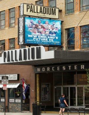 The Palladium marquee promotes this Saturday's New England's Future VII professional boxing event.