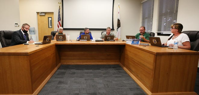 Taft Union High School District board met in board room Monday night for first time since pandemic began.