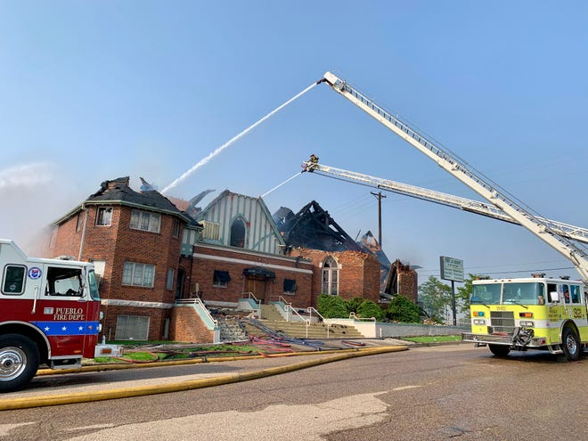 Pueblo Fire Department responders fight a fire on Monday, Aug. 9 at The Albany, a 134-year old venue on the 100 block of West 7th Street.