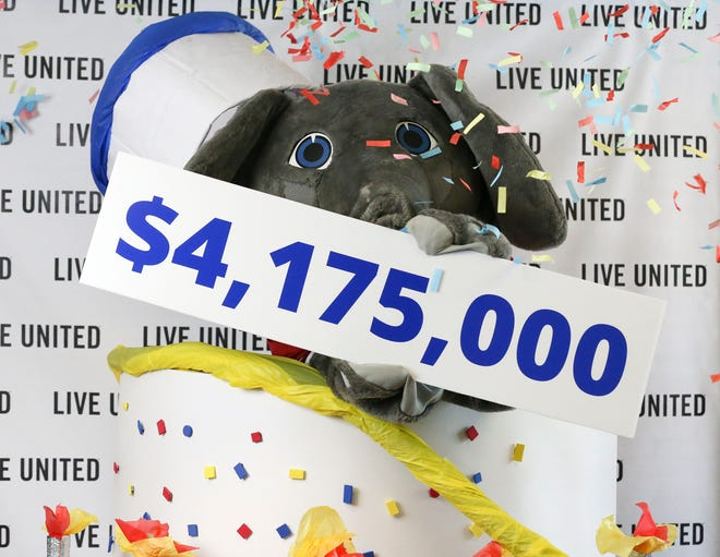 Big Al helps the United Way announce their campaign fundraising goal in a video shoot Monday, Aug. 9, 2021. Instead of a live event, the campaign kickoff was changed to a virtual event on Tuesday because of the the recent spike on COVID-19 cases.[Staff Photo/Gary Cosby Jr.]