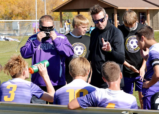 Head coach Justin Harte (center) and assistant coach Jesse Hauck (left) guided Watertown High Schoo's boys soccer team to the most successful season in program history in 2020. The Arrows went 9-2-1 and reached the state Class AA playoff semifinals. Watertown has received votes in the South Dakota Soccer Coaches Association's preseason poll.