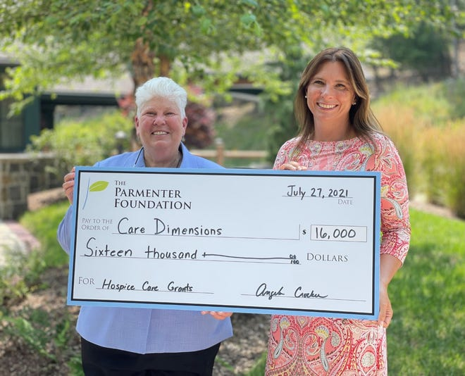 Care Dimensions vice president of philanthropy Donna Deveau and Angela Crocker, executive director of The Parmenter Foundation.