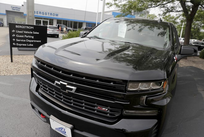 A truck for sale at Bergstrom Chevrolet Buick of Neenah on Friday, August 6, 2021, in Neenah, Wis.