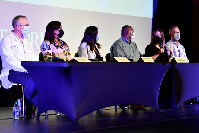 Annette Lerma, director of the Abilene-Taylor County Public Health District, speaks during Tuesday's COVID-19 question-and-answer session at the Paramount Theatre.