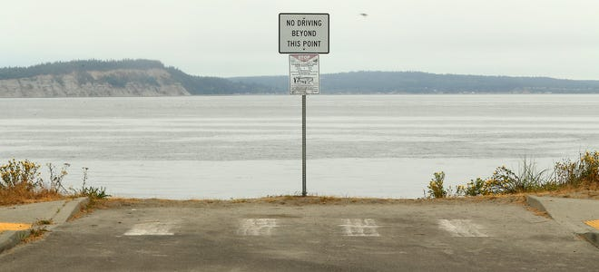 A sign marks the unfinished boat launch at the Washington Department of Fish and Wildlife's Point No Point parking lot in Hansville on Aug. 6.