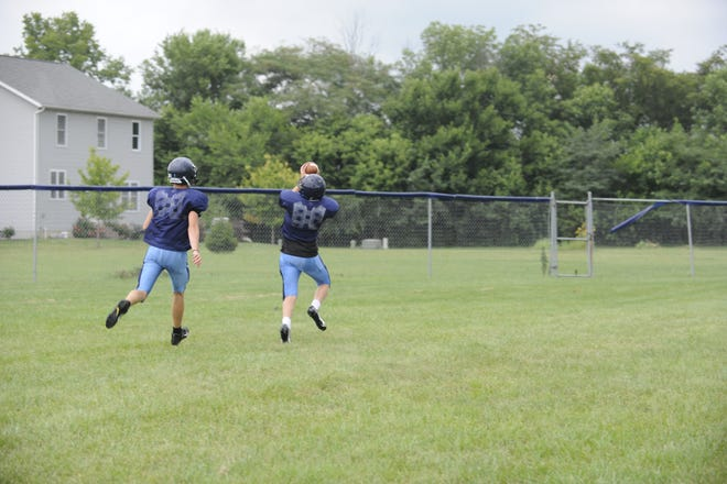 An Adena Warrior beating a teammate downfield during a coverage drill.