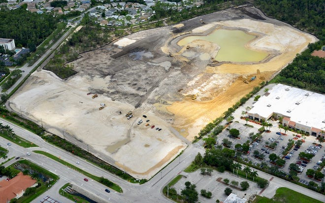 Stock's mixed-use project of Estero Crossing is located on the south side of Corkscrew Road (bottom), just west of I-75 in Estero.