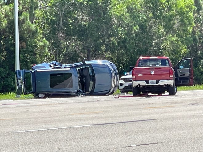 A two-vehicle crash with injuries on Tamiami Trail north of Williams Road in Estero shut down a section of the main road Tuesday.
