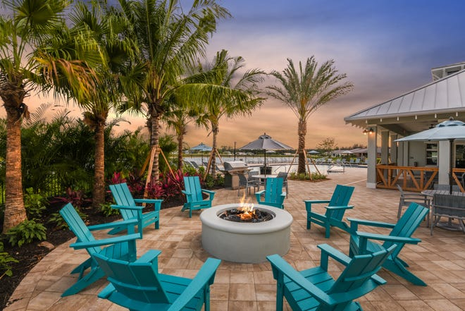 HOA fees are low since the amenities are simple, but Bonavie Cove has things that residents enjoy such as this fire pit. The community also has a pool, fitness center, barbecue area and dog park.