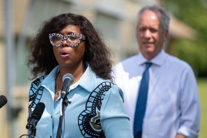 Louisville councilwoman Jessica Green speaks during a press conference at the Southwick Community Center announcing the rebranding of the Louisville Parks Foundation to the Parks Alliance of Louisville and its new 'Parks for All Equitable Investment Initiative'. Aug. 10, 2021