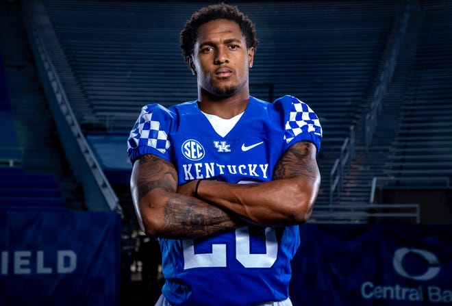 UK junior wide receiver Rahsaan Lewis at the UK media day. Aug. 6, 2021