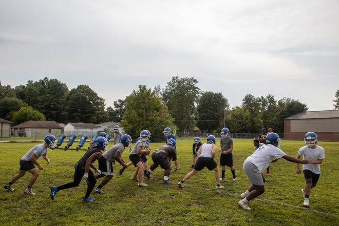 The Valley Station High School football practices Monday evening. Aug. 9, 2021