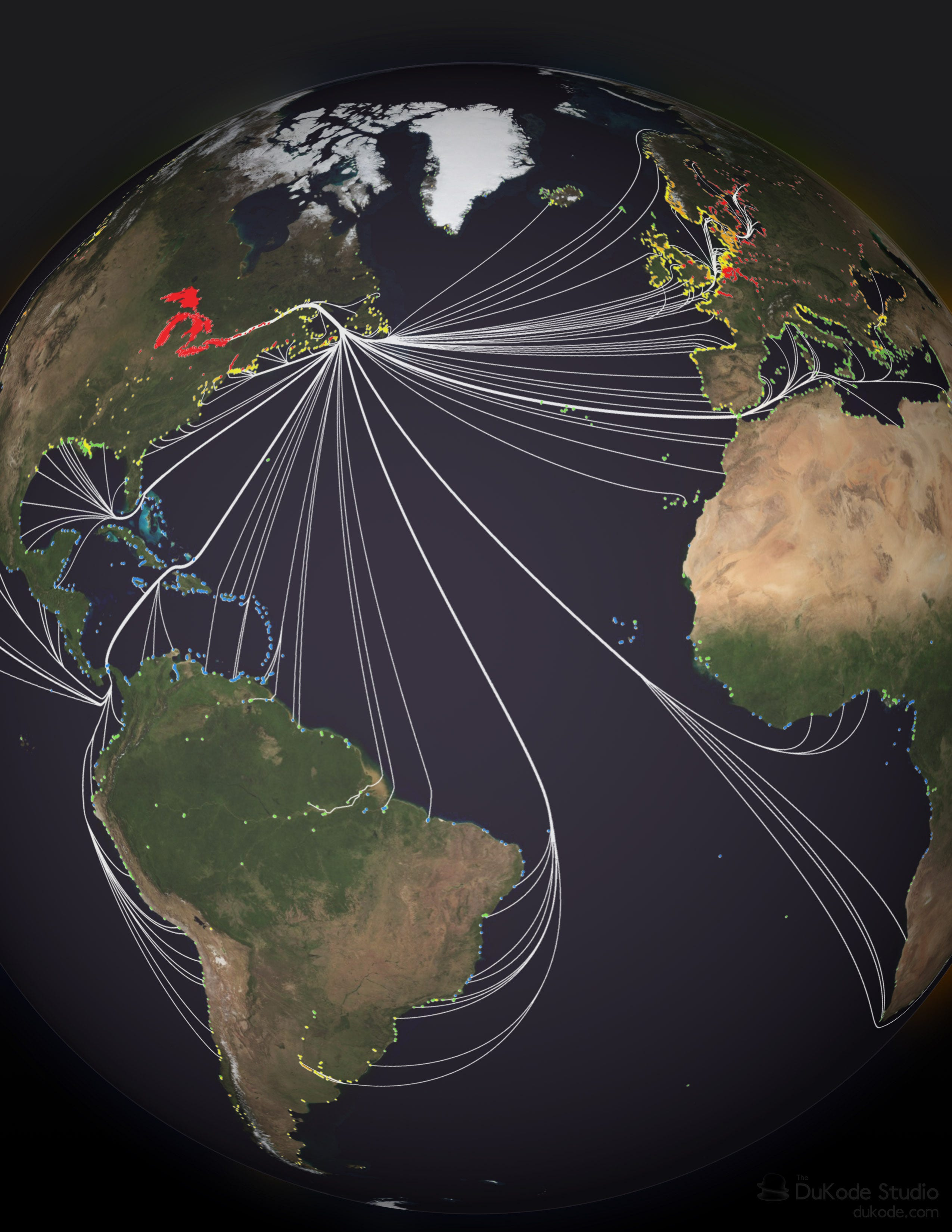 This image shows departure ports and routes for ships that visited the Great Lakes during a 12-month period from 2005 to 2006. Each global port is marked by a dot. Ports marked in red show the highest risk ports to produce invasive species due to their environmental similarities to the Great Lakes. Less similar ports are marked in other colors. Data compiled by Reuben Keller at Loyola University Chicago.