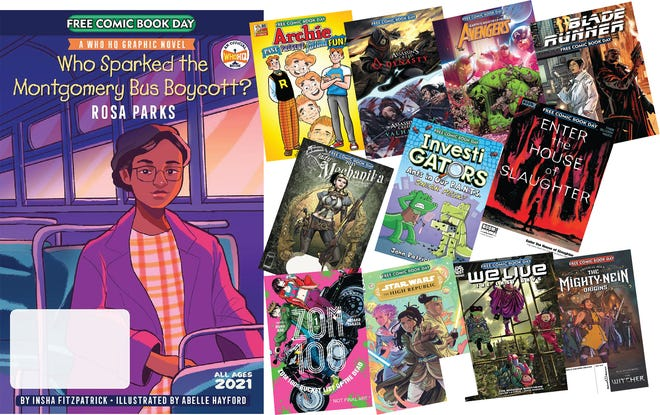 """""""Who Sparked the Montgomery Bus Boycott? Rosa Parks"""" is one of 12 Gold Title comics being offered Saturday nationwide during Free Comic Book Day. In all, 51 titles are part of the day."""
